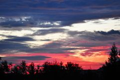 Dramatic Morning sky at Sunrise. Dramatic panorama morning sky atnsunrise.The clouds are burning by the sun. Sunset. Fire Stock Photos