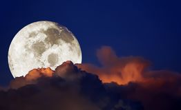 Dramatic panorama view of beautiful Big moon with twilight sky a stock photography