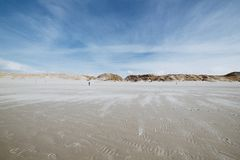 Dramatic Panorama view of a coastal boardwalk, Amrum. Panorama view of a coastal boardwalk crossing vegetated dunes to a viewpoint on a deck on the island of stock photos