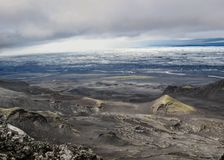 Epic view on volcanic features and Vatnajokull glacier, Kverkfjoll, Highlands of Iceland, Europe stock images