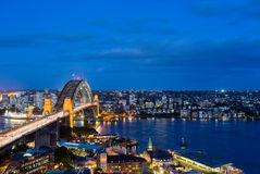 Dramatic panoramic night photo Sydney harbor Royalty Free Stock Image
