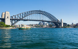 Dramatic panoramic photo Sydney harbor Royalty Free Stock Image