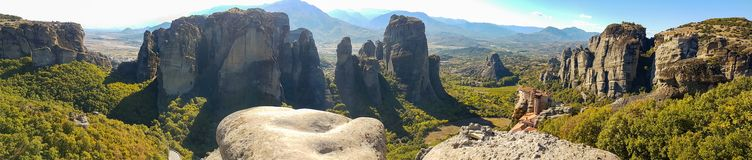 Dramatic panoramic view of the Meteora rock monasteries in Greec Stock Photography