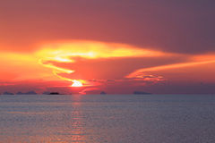 Dramatic pastel sunset sky and tropical sea Royalty Free Stock Image