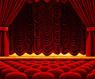 Dramatic performance and drama show concept. Theatre auditorium, theater hall interior with wooden stage, red velvet curtains and seats Stock Photo