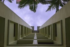 Dramatic perspective of apartment building. Photo taken at an unusual angle of a typical Singaporean HDB apartment building Royalty Free Stock Photography