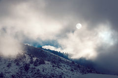 Dramatic pictersque landscape of snowy winter mountains covered Stock Images