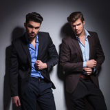 Dramatic picture of two fashion male models Royalty Free Stock Image
