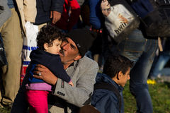 Dramatic pictures from the Slovene refugee crisis. Stock Image