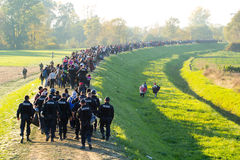 Dramatic pictures from the Slovene refugee crisis. Royalty Free Stock Photography