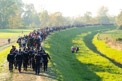 Dramatic pictures from the Slovene refugee crisis. Stock Photography