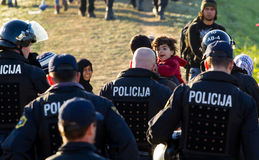 Dramatic pictures from the Slovene refugee crisis. Royalty Free Stock Photo