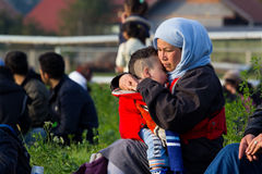 Dramatic pictures from the Slovene refugee crisis. Royalty Free Stock Image
