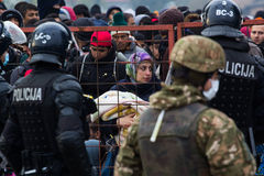Dramatic pictures from the Slovene refugee crisis. Stock Photo