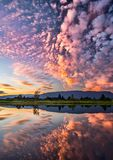 Dramatic Pink Clouds Reflection Stock Photos