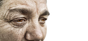 Dramatic portrait. Striking dramatic look of a old woman Stock Photos