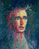 Dramatic portrait. Dark, dramatic portrait, oil painting with heavy impasto knife painted textures stock illustration