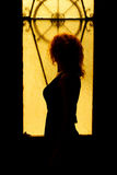 Dramatic portrait of a charming woman in the dark. Dreamy female. Look in twilight. Female silhouette in the shadows. Young beautiful red-haired girl with a Royalty Free Stock Photo