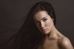 Dramatic portrait of a girl theme: portrait of a beautiful girl with flying hair in the wind against a background in the studio Royalty Free Stock Photo