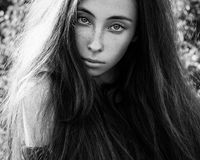 Dramatic portrait of a girl theme: portrait of a beautiful girl with flying hair in the wind in the forest Royalty Free Stock Photo