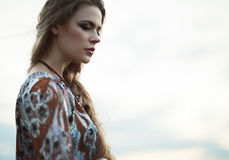 Dramatic portrait hippie girl Stock Image