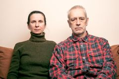 Sad and Depressed Adult Woman and Man Expression stock image