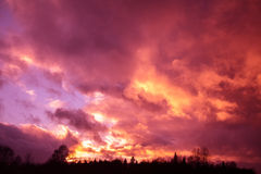 Dramatic purple sky Stock Photo