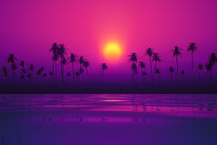 Dramatic purple sunset Stock Photo