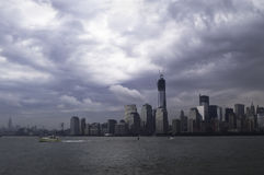 Dramatic rain cloudy sky over New York City Royalty Free Stock Images