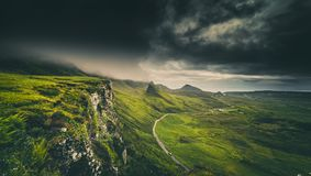 Dramatic Rainy Clouds Over Scottish Highlands In The Isle Of Sky Royalty Free Stock Photography