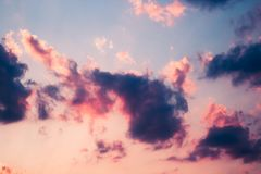 Dramatic red blue, purple sky with clouds at sunset.  Royalty Free Stock Photo