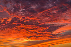 Dramatic red cloudscape at sunset Stock Photo