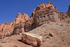 Dramatic Red Rock Cliffs in the Desert Royalty Free Stock Image