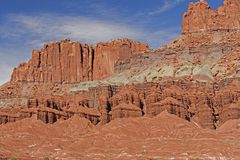 Dramatic Red Rock Cliffs and Formations in the Desert Royalty Free Stock Images