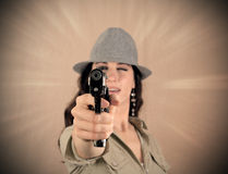 Dramatic retro mafia girl Royalty Free Stock Photography