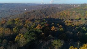 Dramatic rising aerial view of Pennsylvania autumn valley