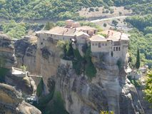 Dramatic rock formations with monastery in Meteora, Greece Royalty Free Stock Image