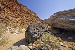 Dramatic Rocks along a Desert Trail Stock Photography