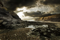 Dramatic rocky beach landscape Stock Photo