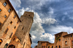 Dramatic San Gimignano Royalty Free Stock Images