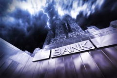 Dramatic scene of a financial institute or bank in thunderstorm and stormy weather. Dramatic scene of a financial institute or bank in thunderstorm an a Stock Photo