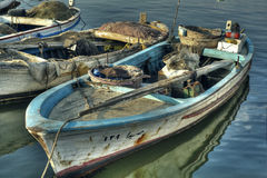 Dramatic Scene of Fishing Boats in HDR Stock Images