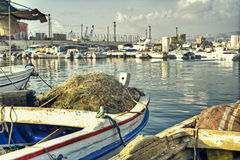 Dramatic Scene of Fishing Boats in HDR Stock Image