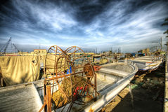 Dramatic scene of fishing boats at a port in sidon Stock Images