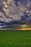 Dramatic scene - meadow with clouds and rain Royalty Free Stock Image