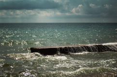 Dramatic scene of ocean before storm. Royalty Free Stock Images