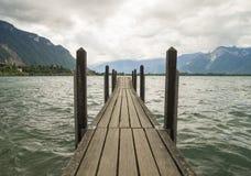 Dramatic scene with Old bridge on the Geneva Lake Royalty Free Stock Photography