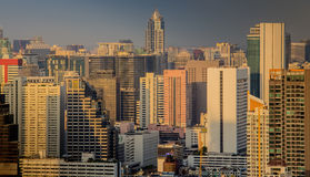 Dramatic scenery sunset of Bangkok city center Royalty Free Stock Images