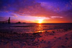 Dramatic scenic sunset royalty free stock photos