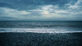 Dramatic Sea And Beach In The Evening stock video footage